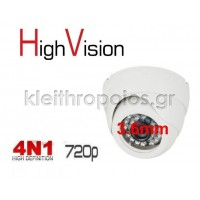 CCV - 720 High Vision AHD Κάμερα Dome Υβριδική AHD / CVI / TVI / CVBS 4 τεχνολογίες σε 1 κάμερα με φακό 3.6mm και ανάλυση 1MP για εσωτερική χρήση